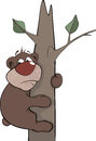 Bear on a tree. Cartoon Royalty Free Stock Photography