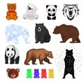 Bear vector wild animal wild angry brown, grizzly, cute panda and polar bear cartoon character teddy and jelly Royalty Free Stock Photo