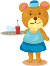 Bear waitress illustration of isolated on white background Stock Photos
