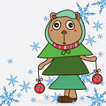 Bear xmas tree cute illustration abstract fashion ball snowflake face white color background card object fun merry Royalty Free Stock Photo