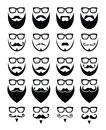 Beard and glasses hipster icons set different styles on black isolated on white Royalty Free Stock Photo