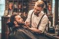 Beard grooming. Royalty Free Stock Photo