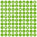 100 beard icons hexagon green
