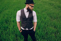 Beard man in field lonley strong handsome Royalty Free Stock Images