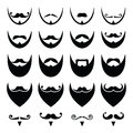Beard with moustache or mustache icons set different styles on black isolated on white Royalty Free Stock Image