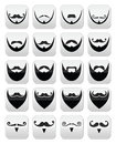 Beard with moustache or mustache icons set different styles on black isolated on white Stock Photo