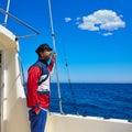 Beard sailor man sailing sea in a boat captain cap Royalty Free Stock Photo