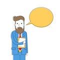 Bearded business man chat box dialog businessman talk hold folder vector illustration Stock Images