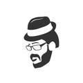 Bearded hipster face black silhouette. Vector illustration
