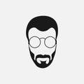 Bearded hipster face black silhouette. Vector illustration