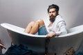 Bearded man in bathtub Royalty Free Stock Photo
