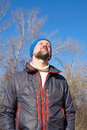 Bearded man enjoying life in sunny day on outdoor Royalty Free Stock Photography