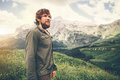 Bearded Man hiking Travel Lifestyle concept mountains on background Royalty Free Stock Photo
