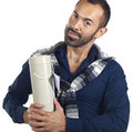 Bearded man holding a tubular gift box Royalty Free Stock Photo