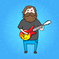 Bearded man from a rick band with a giutar illustration Stock Photography