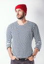 Bearded man with sailor striped shirt