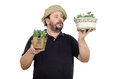 Bearded man is seller in flower shop this middle aged Stock Image