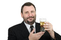 Bearded officer holds a lager glass mature on white background Royalty Free Stock Photography