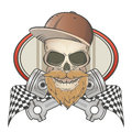 Bearded racing skull with crossed pistons illustration of Royalty Free Stock Image