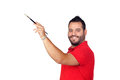 Bearded young man painting something with a brush Royalty Free Stock Photo