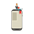 Bearded young man sitting and reading on a giant electronic book vector Illustration
