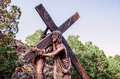 Bearing the cross one of sculptures at stations of on san pedro mesa san luis colorado depicting passion death and resurrection of Stock Images