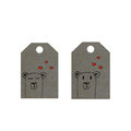 Bears with hearts on tag, little bears tags, valentines day label