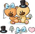 Bears in wedding dress sitting on white - vector