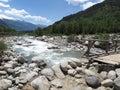 The Beas Biás or Bias River running through the Kullu Valley, set against the Western Himalayas, Himachal Pradesh, India Royalty Free Stock Photo