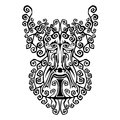 Beast demon spirit face tribal tattoo Stock Image