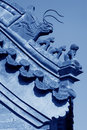 Beast sculpture in the eaves in a temple china under blue sky Royalty Free Stock Photography
