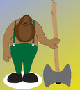 Beast woodman stands with his axe and going to work Royalty Free Stock Images