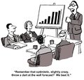Beat forecast the cartoon shows a meeting room with a leader beside a chart with bars indicating sales growth the leader is Royalty Free Stock Image