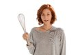 Beater girl with a on white Royalty Free Stock Images