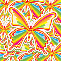 Beatiful butterflys over pattern background vector illustration Stock Photos