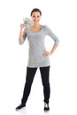Beatiful casual woman holding money beautiful isolated on white Royalty Free Stock Images