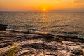 Before beatiful sunrise on the rocks, Rayong, Thailand. Royalty Free Stock Photography