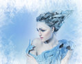 Beatiful woman with fantasy hair ice queen young in creative image silver blue artistic make up and perfect hairstyle Stock Image