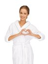 Beatiful woman with heart shaped hands picture of Royalty Free Stock Photo
