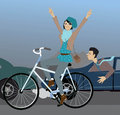 Beating the traffic on a bike young hipster girl riding bicycle and flashing peace signs passing cars stuck in jam vector Stock Photos