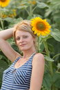Beaty girl and sunflower Stock Photography