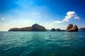 Beaty limestone rock in the ocean thailand Royalty Free Stock Photo