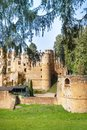 Beaufort castle ruins in the forest view of beautiful of luxembourg on sunny spring day Royalty Free Stock Photography