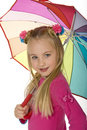 Beauitful Little Blond With Umbrella Royalty Free Stock Photos