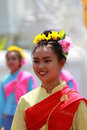 Beaultiful thai girl in tradition dress smiling Stock Images