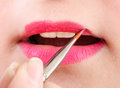 Beautician artist applying makeup close up of woman lip gloss Royalty Free Stock Photo