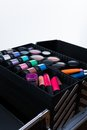 Beautician bag large makeup professional case containing jars and tubes Stock Images