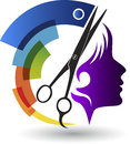 Beautician logo illustration art of a with background Royalty Free Stock Photos