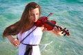 Beautifl girl playing violin Royalty Free Stock Photo