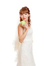 Beautifu bride holding apple isolated on white background Royalty Free Stock Photos